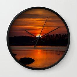 Beautiful Sunset with Strong Orange Color #decor #society6 #buyart Wall Clock
