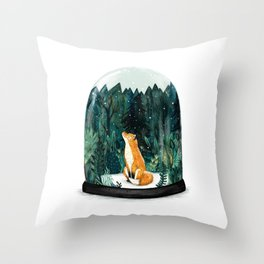 Snow Globe Fox Throw Pillow