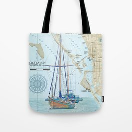 Sarasota and Siesta Key Nautical Area Map Tote Bag