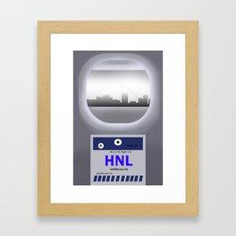 Honolulu - HNL - Airport Code and Skyline Framed Art Print