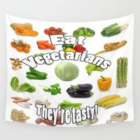 vegetarian Wall Tapestries featuring Eat A Vegetarian by AuntyReni's Creations
