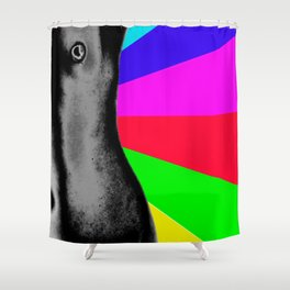 Body with Rainbow Shower Curtain