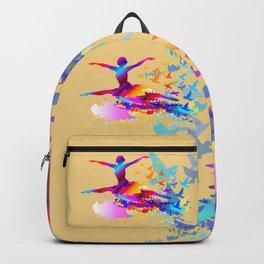 Colorful ballet dancer with flying birds Backpack