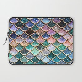 Multicolor Pink And Aqua Mermaid Scales - Beautiful Abstract Glitter Pattern  Laptop Sleeve