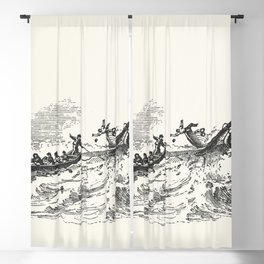 Illustration of the sperm whale while attacking fishing boat from The Natural History of the Sperm W Blackout Curtain