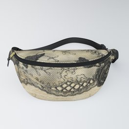 Black floral lace on wood  -Elegant and luxury design for women Fanny Pack