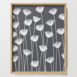 White Poppies Serving Tray