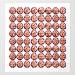 salmon and purple pattern Art Print