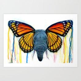 Butterfly Elephant Art Print