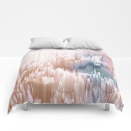 Etherial light in blush and blue - Glitch art Comforters