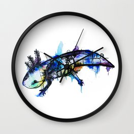 Rainbow Splash Axolotl Watercolour Wall Clock