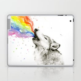 Wolf Howling Rainbow Watercolor Laptop & iPad Skin