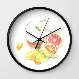 Citruses and drink Wall Clock