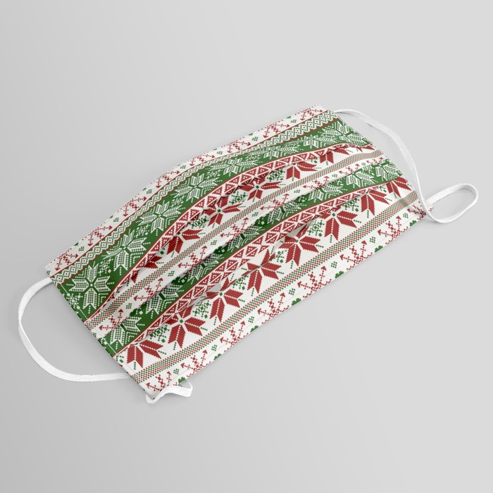 Green & Red Winter Fair Isle Face Mask