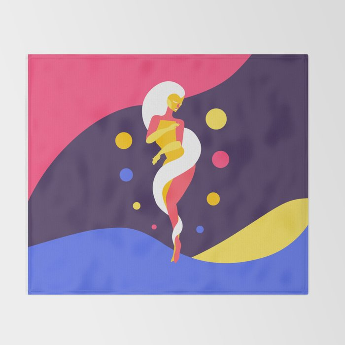 Funky Universe Colorful Lady Throw Blanket
