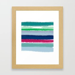 Bluish Blues 2 - Blues, Aqua, Greens, and Pinks, Stripes on White Framed Art Print