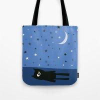murakami Tote Bags featuring Good Night Oscar by Jacek Muda