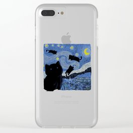 The Starry Cat Night Clear iPhone Case
