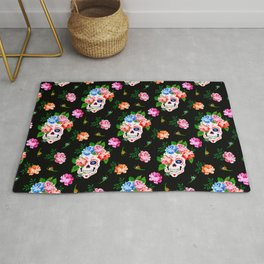 Day Of The Dead Pattern   Dia De Los Muertos Skull Rug