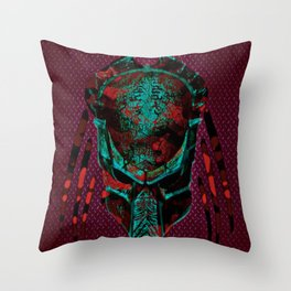 Soldier Predator Red Teal Throw Pillow