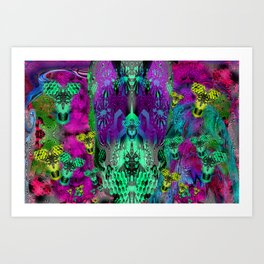 Sugar Skull and Girly Corks (psychedelic, abstract, halftone, op art) Art Print