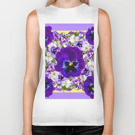 PURPLE PANSIES GARDEN LILAC ART Biker Tank