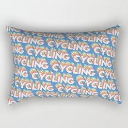 Cycling Trendy Rainbow Text Pattern (Blue) Rectangular Pillow