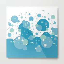 Blue Pastel Bubble Metal Print