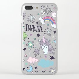 Magical Rainbow, Unicorn And Crystal Pattern Clear iPhone Case