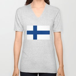 Finnish Flag of Finland  Unisex V-Neck