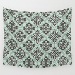 Turquoise and brown damask pattern Wall Tapestry