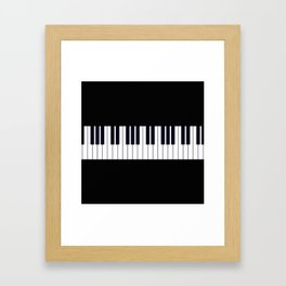 Piano Keys - Black and white simple piano keys pattern minimalistic music themed artwork Framed Art Print