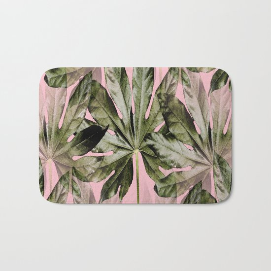 Large green leaves on a pink background - beautiful colors Bath Mat