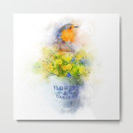 Robin bird and flowers watercolor painting Metal Print
