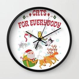 Cats For Everyone Funny Christmas Joke Cats Lovers  Wall Clock