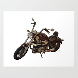 Classic motorcycle original handmade drawing. Gift for bikers Art Print