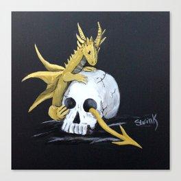 Gold Dragon & Skull Canvas Print