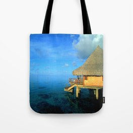 Over-the-Water Island Bungalow Tote Bag