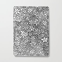 Outlined Daisies Metal Print