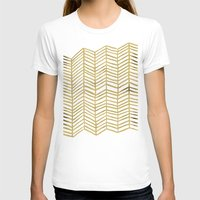 sandra dieckmann T-shirts featuring Gold Herringbone by Cat Coquillette