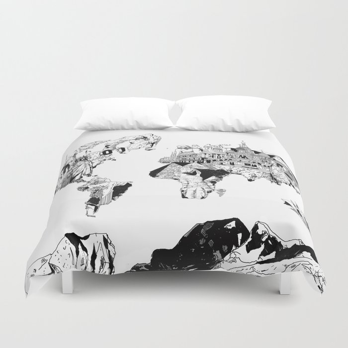 World map black and white duvet cover by bekimart society6 world map black and white duvet cover gumiabroncs Gallery