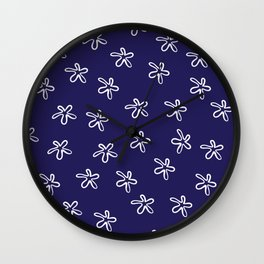 Free Flowers Abstract Pattern in White and Delft Blue  Wall Clock