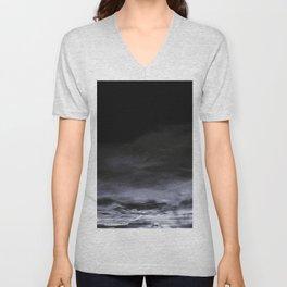BLACK & BLUE & WHITE TOUCHING #2 #abstract #decor #art #society6 Unisex V-Neck