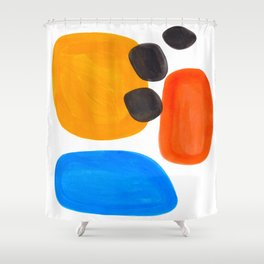 Abstract Mid Century Modern Colorful Minimal Pop Art Yellow Orange Blue Bubbles Ovals Shower Curtain