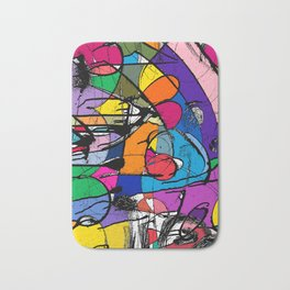 Abstract Street Art Bus Stop Pattern Texture in Bologna Bath Mat