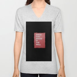 """We're just bricks in the wall"" text design against a red brick wall Unisex V-Neck"