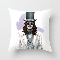 dracula Throw Pillows featuring Dracula by Myrtle Quillamor