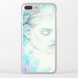 Victorian Lady Watercolor Ink Teal Clear iPhone Case