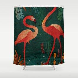 flamingo story.. Shower Curtain