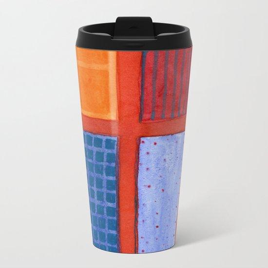 Large rectangle Fields between red Grid Metal Travel Mug